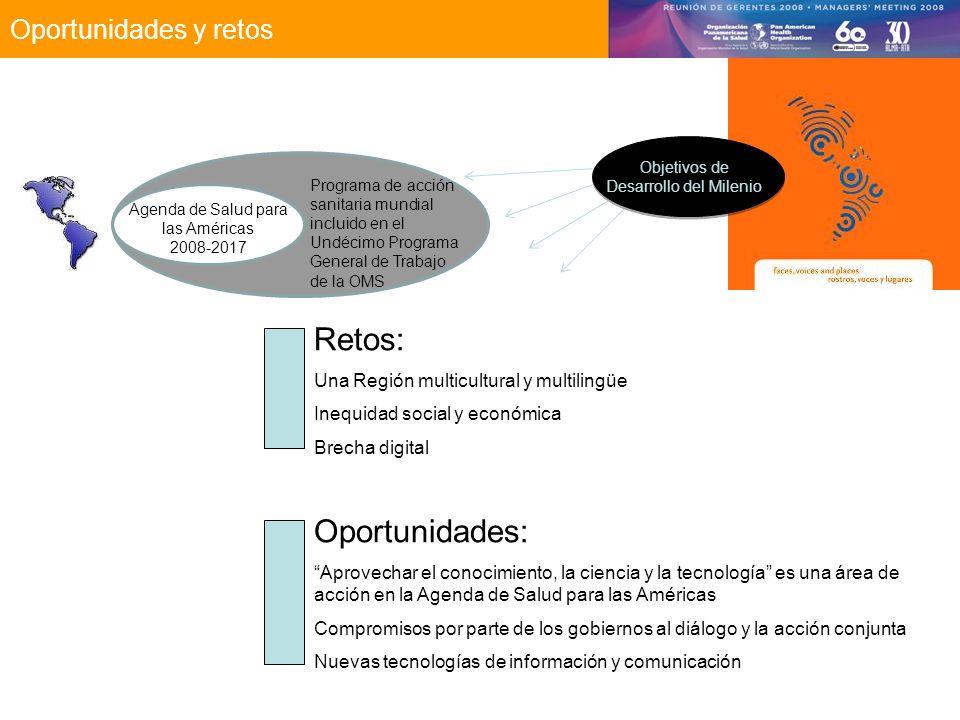 Oportunidades y retos Objetivos de Desarrollo del Milenio Programa de acción sanitaria mundial incluido en el Undécimo Programa General de Trabajo de la OMS Agenda de Salud para las Américas 2008-2017 Retos: Una Región multicultural y multilingüe Inequidad social y económica Brecha digital Oportunidades: Aprovechar el conocimiento, la ciencia y la tecnología es una área de acción en la Agenda de Salud para las Américas Compromisos por parte de los gobiernos al diálogo y la acción conjunta Nuevas tecnologías de información y comunicación