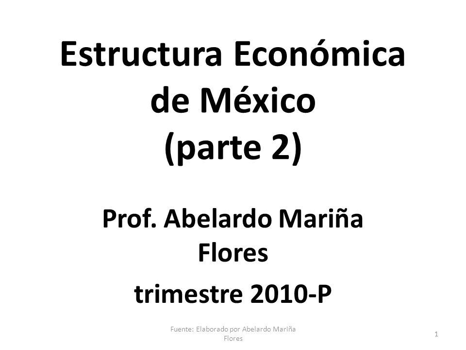 Estructura Económica de México (parte 2) Prof. Abelardo Mariña Flores trimestre 2010-P 1 Fuente: Elaborado por Abelardo Mariña Flores