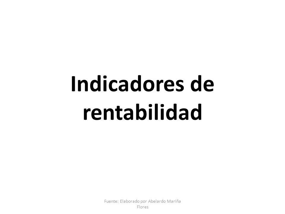 Indicadores de rentabilidad Fuente: Elaborado por Abelardo Mariña Flores