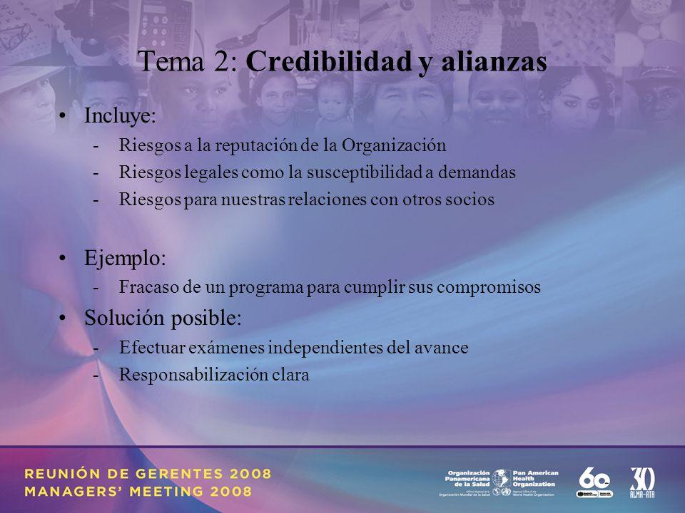 Tema 2: Credibilidad y alianzas Incluye: - Riesgos a la reputación de la Organización - Riesgos legales como la susceptibilidad a demandas - Riesgos para nuestras relaciones con otros socios Ejemplo: - Fracaso de un programa para cumplir sus compromisos Solución posible: - Efectuar exámenes independientes del avance - Responsabilización clara