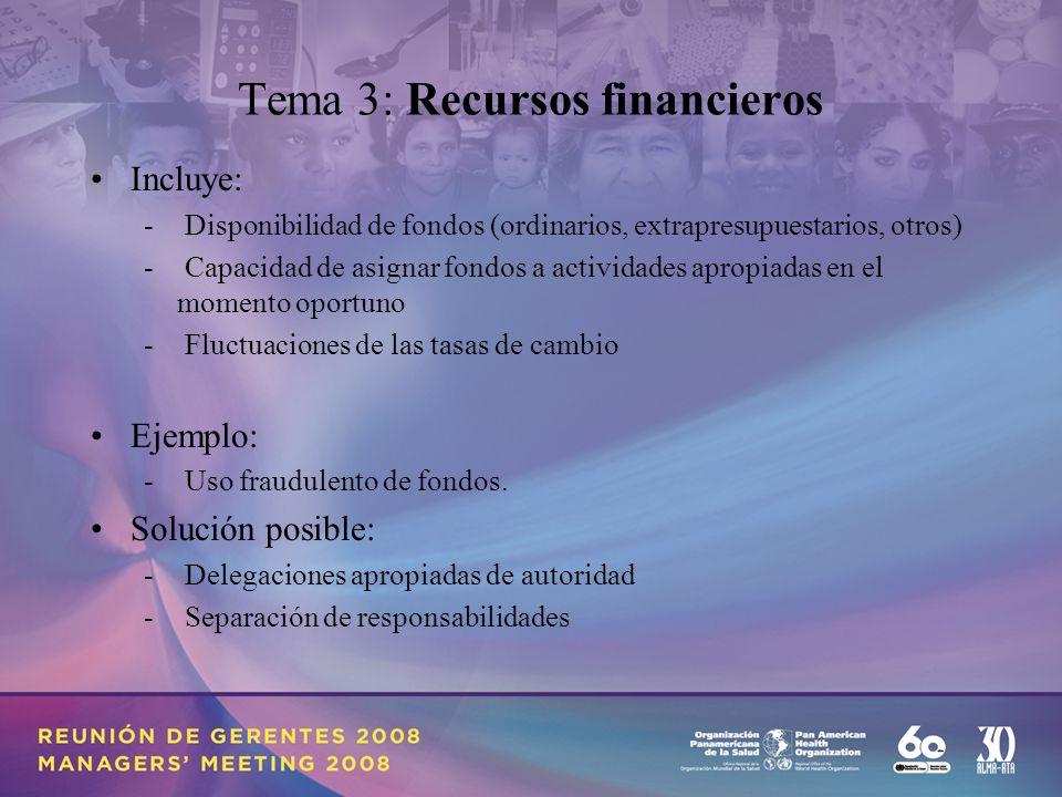 Tema 3: Recursos financieros Incluye: - Disponibilidad de fondos (ordinarios, extrapresupuestarios, otros) - Capacidad de asignar fondos a actividades apropiadas en el momento oportuno - Fluctuaciones de las tasas de cambio Ejemplo: - Uso fraudulento de fondos.