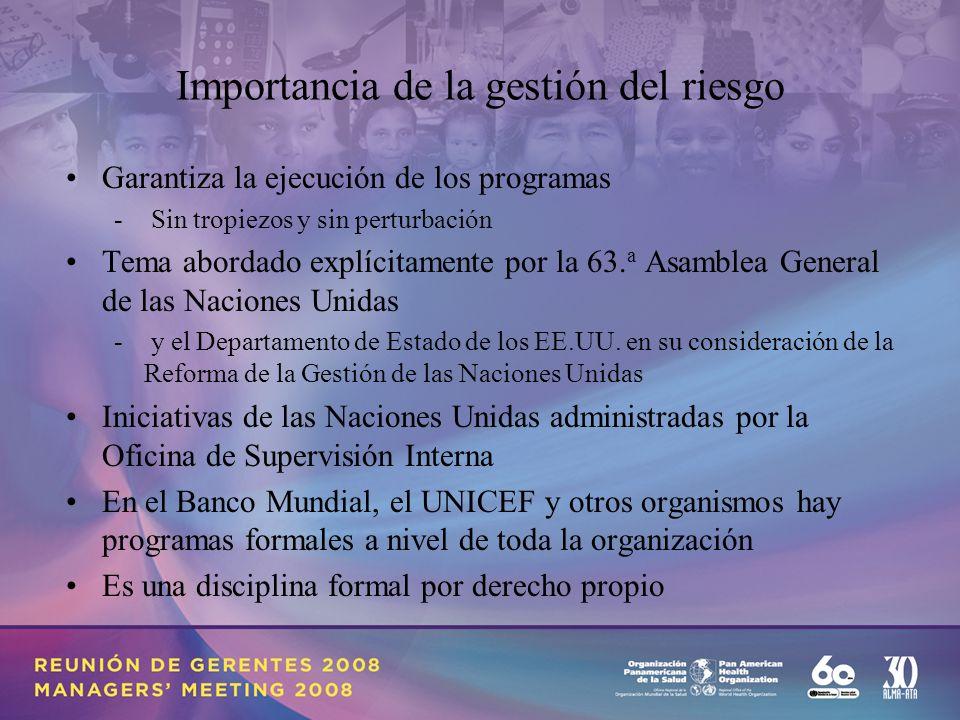 Importancia de la gestión del riesgo Garantiza la ejecución de los programas - Sin tropiezos y sin perturbación Tema abordado explícitamente por la 63.