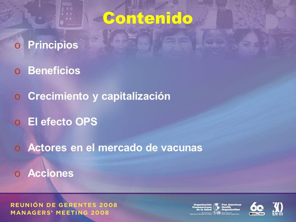 Contenido oPrincipios oBeneficios oCrecimiento y capitalización oEl efecto OPS oActores en el mercado de vacunas oAcciones