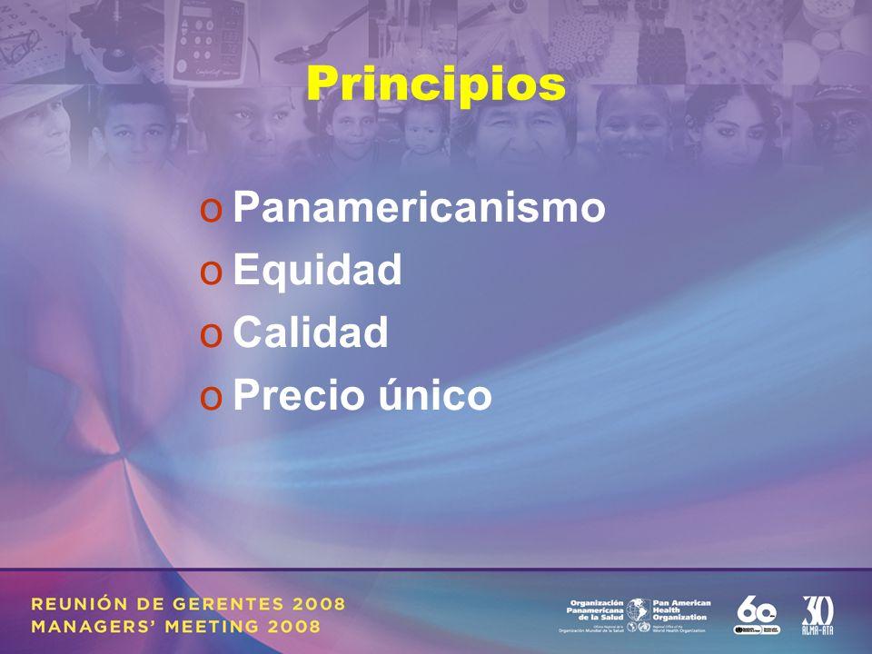 Principios oPanamericanismo oEquidad oCalidad oPrecio único