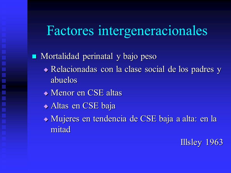 Factores intergeneracionales Mortalidad perinatal y bajo peso Mortalidad perinatal y bajo peso Relacionadas con la clase social de los padres y abuelo