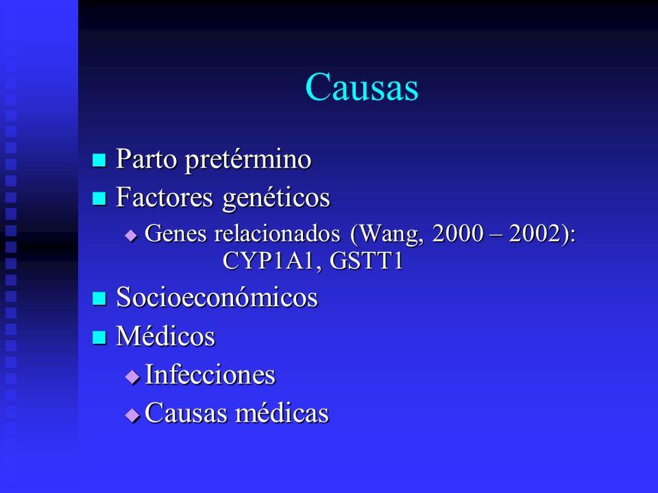 Causas Parto pretérmino Parto pretérmino Factores genéticos Factores genéticos Genes relacionados (Wang, 2000 – 2002): CYP1A1, GSTT1 Genes relacionado