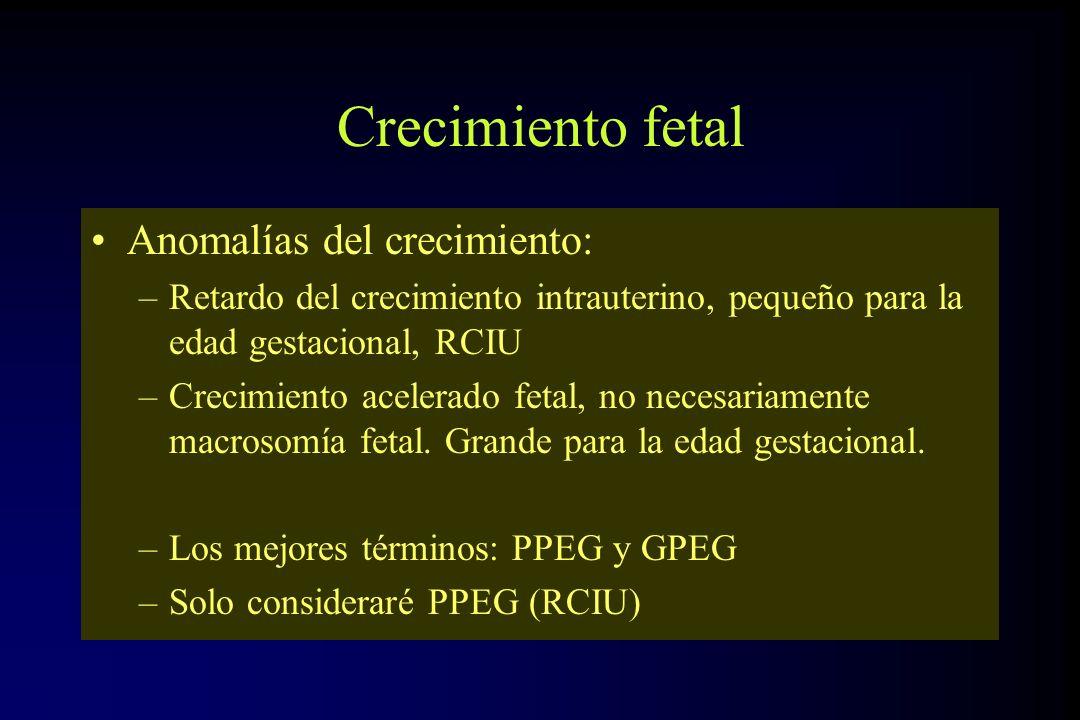 Crecimiento fetal Anomalías del crecimiento: –Retardo del crecimiento intrauterino, pequeño para la edad gestacional, RCIU –Crecimiento acelerado feta