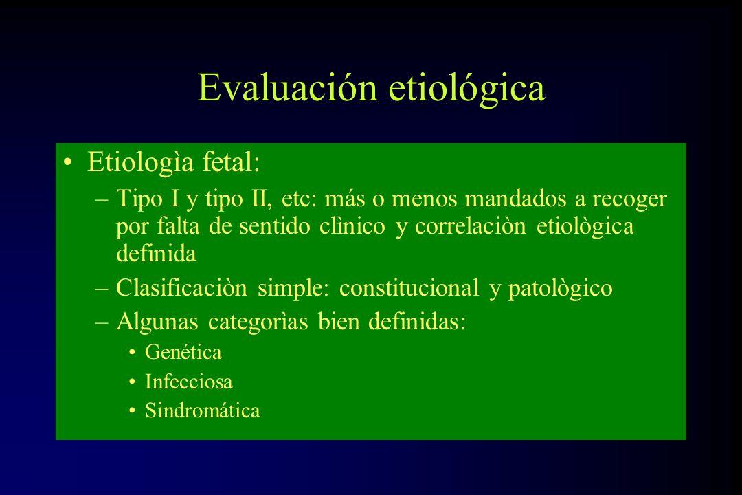 Evaluación etiológica Etiologìa fetal: –Tipo I y tipo II, etc: más o menos mandados a recoger por falta de sentido clìnico y correlaciòn etiològica de