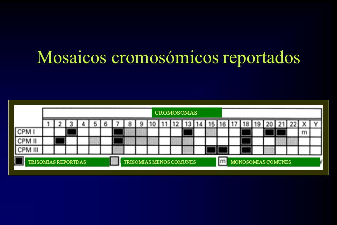 Mosaicos cromosómicos reportados CROMOSOMAS TRISOMIAS REPORTDASTRISOMIAS MENOS COMUNESMONOSOMIAS COMUNES