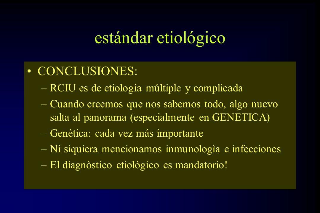 estándar etiológico CONCLUSIONES: –RCIU es de etiología múltiple y complicada –Cuando creemos que nos sabemos todo, algo nuevo salta al panorama (espe
