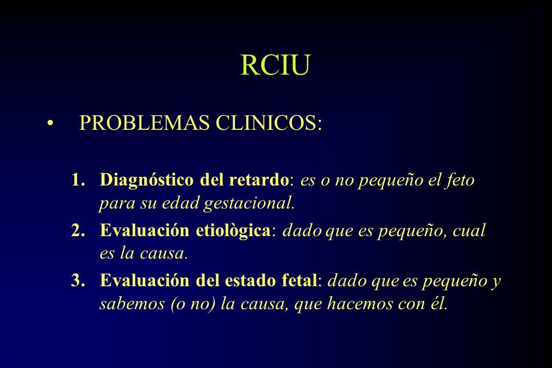 RCIU PROBLEMAS CLINICOS: 1.Diagnóstico del retardo: es o no pequeño el feto para su edad gestacional. 2.Evaluación etiològica: dado que es pequeño, cu