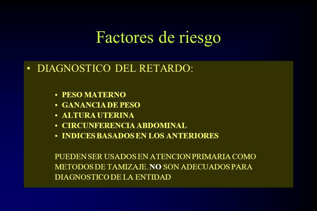 Factores de riesgo DIAGNOSTICO DEL RETARDO: PESO MATERNO GANANCIA DE PESO ALTURA UTERINA CIRCUNFERENCIA ABDOMINAL INDICES BASADOS EN LOS ANTERIORES PU