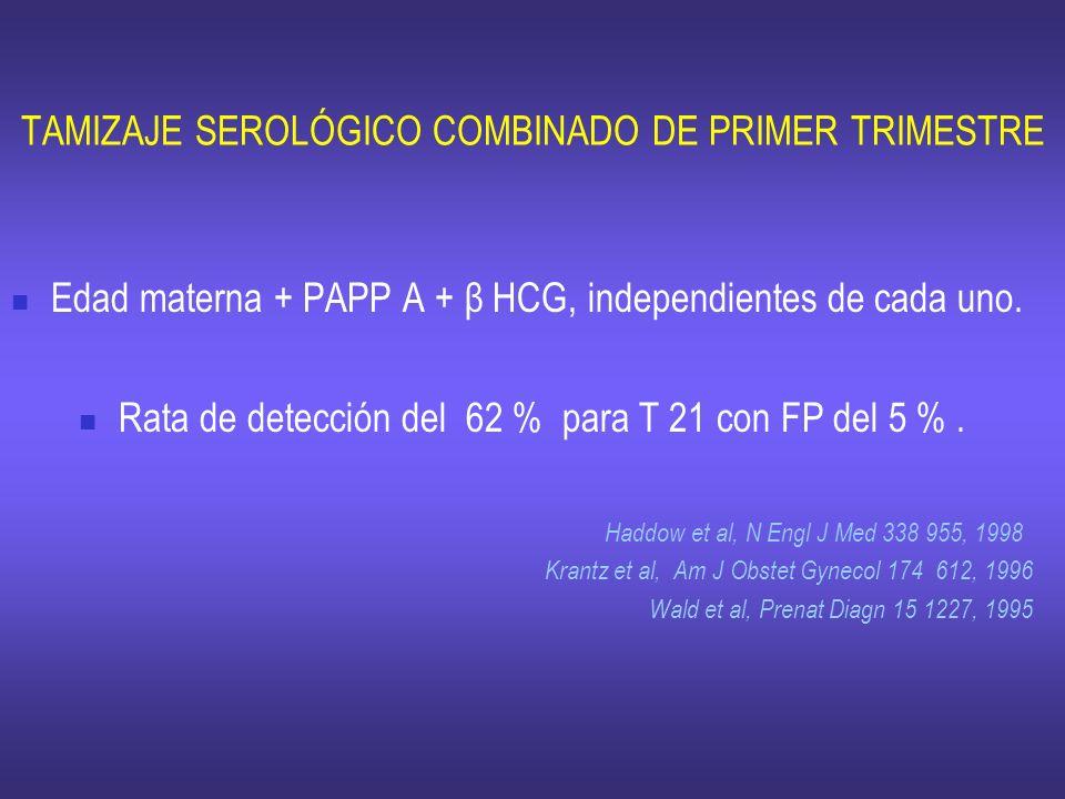 TAMIZAJE SEROLÓGICO COMBINADO DE PRIMER TRIMESTRE Edad materna + PAPP A + β HCG, independientes de cada uno. Rata de detección del 62 % para T 21 con