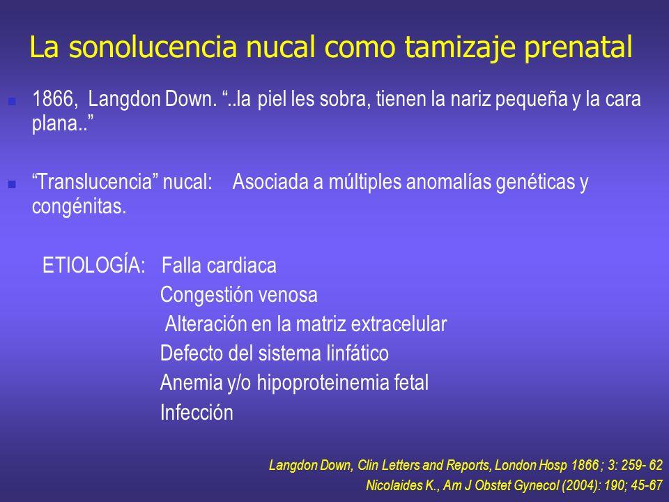 La sonolucencia nucal como tamizaje prenatal 1866, Langdon Down...la piel les sobra, tienen la nariz pequeña y la cara plana.. Translucencia nucal: As
