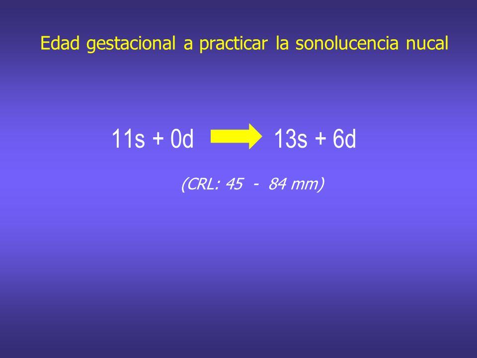 Edad gestacional a practicar la sonolucencia nucal 11s + 0d 13s + 6d (CRL: 45 - 84 mm)