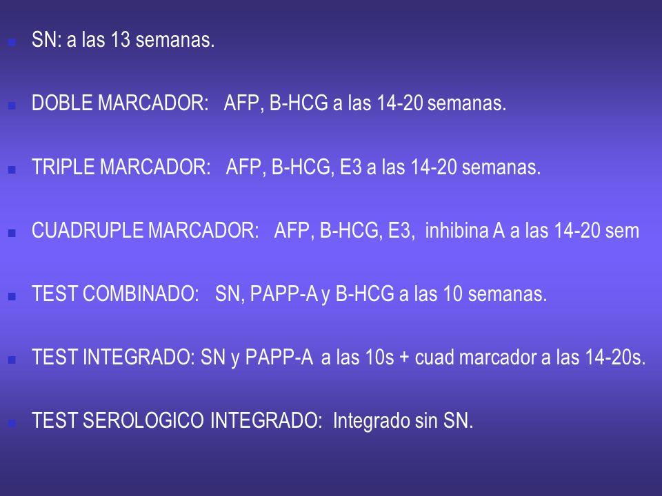 SN: a las 13 semanas. DOBLE MARCADOR: AFP, B-HCG a las 14-20 semanas. TRIPLE MARCADOR: AFP, B-HCG, E3 a las 14-20 semanas. CUADRUPLE MARCADOR: AFP, B-