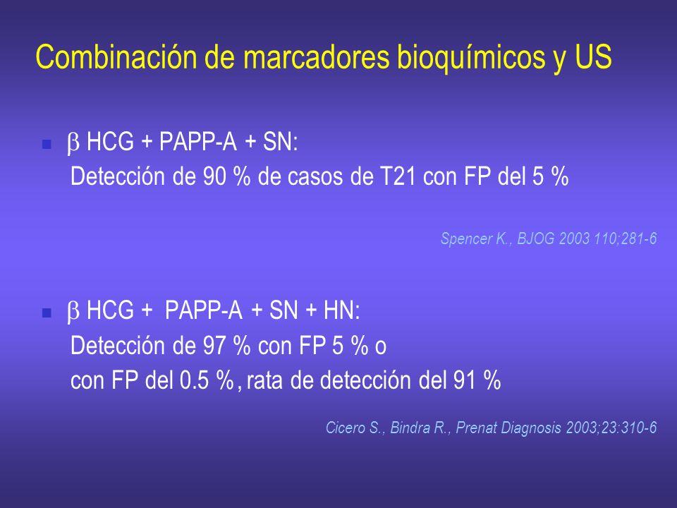 Combinación de marcadores bioquímicos y US HCG + PAPP-A + SN: Detección de 90 % de casos de T21 con FP del 5 % Spencer K., BJOG 2003 110;281-6 HCG + P