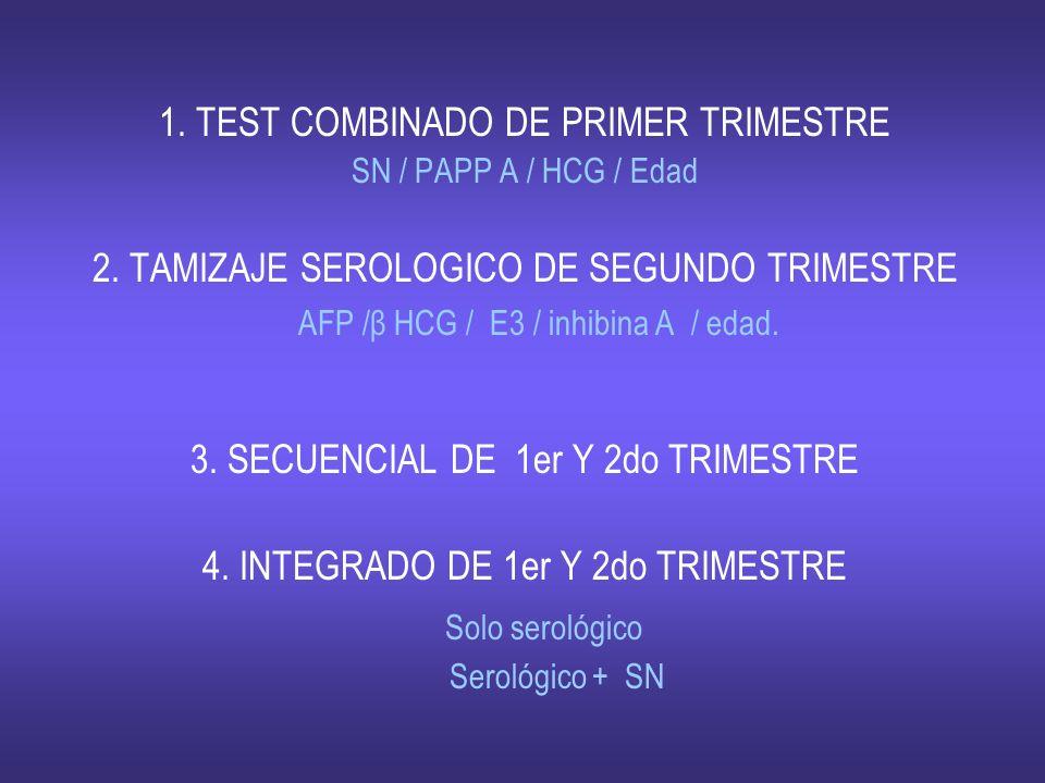 1. TEST COMBINADO DE PRIMER TRIMESTRE SN / PAPP A / HCG / Edad 2. TAMIZAJE SEROLOGICO DE SEGUNDO TRIMESTRE AFP /β HCG / E3 / inhibina A / edad. 3. SEC