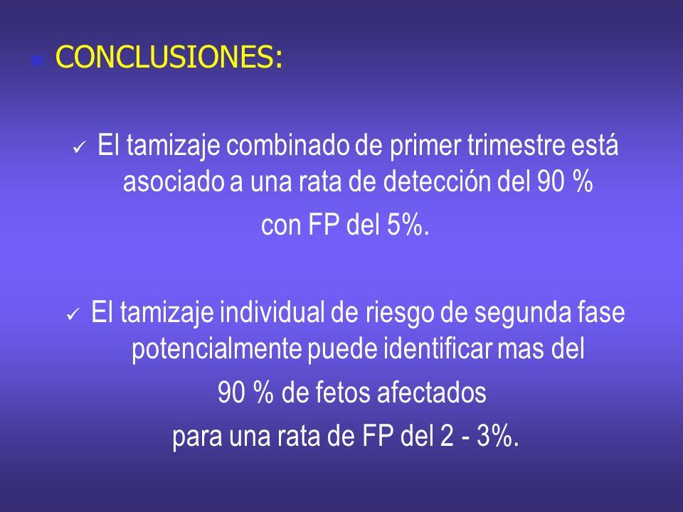 CONCLUSIONES: El tamizaje combinado de primer trimestre está asociado a una rata de detección del 90 % con FP del 5%. El tamizaje individual de riesgo