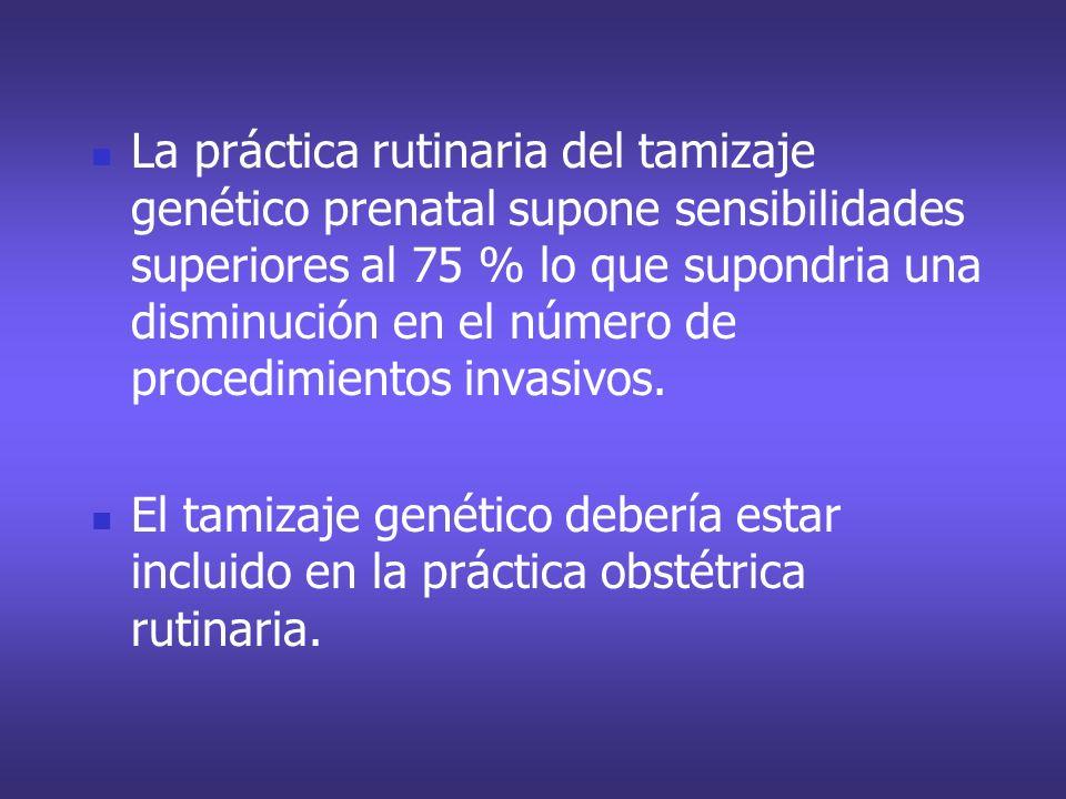 La práctica rutinaria del tamizaje genético prenatal supone sensibilidades superiores al 75 % lo que supondria una disminución en el número de procedi