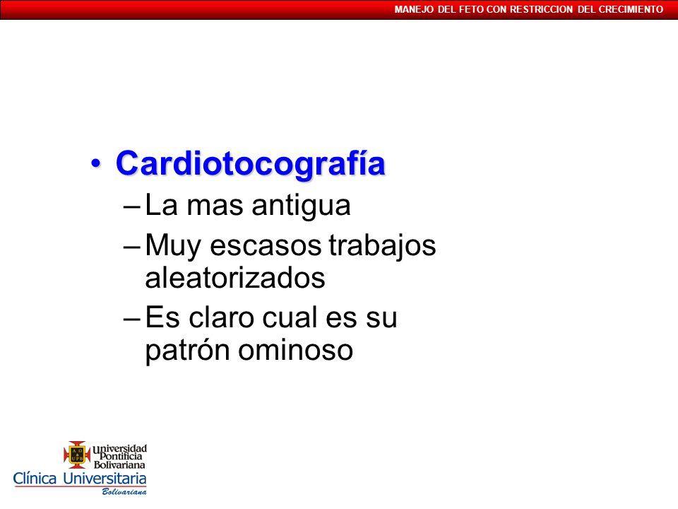 MANEJO DEL FETO CON RESTRICCION DEL CRECIMIENTO CardiotocografíaCardiotocografía –La mas antigua –Muy escasos trabajos aleatorizados –Es claro cual es