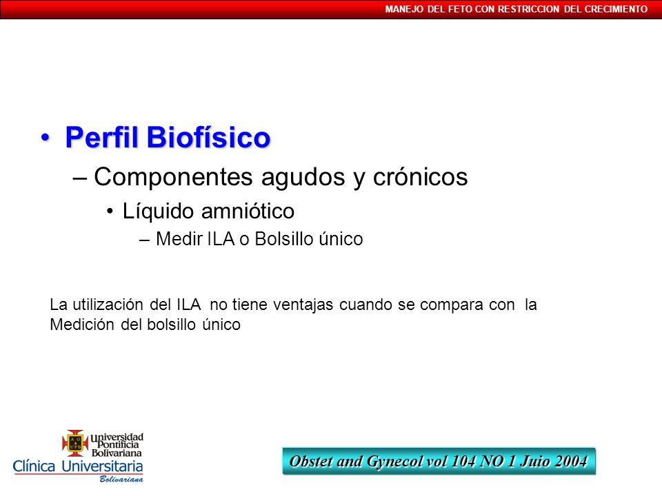 MANEJO DEL FETO CON RESTRICCION DEL CRECIMIENTO Perfil BiofísicoPerfil Biofísico –Componentes agudos y crónicos Líquido amniótico –Medir ILA o Bolsill