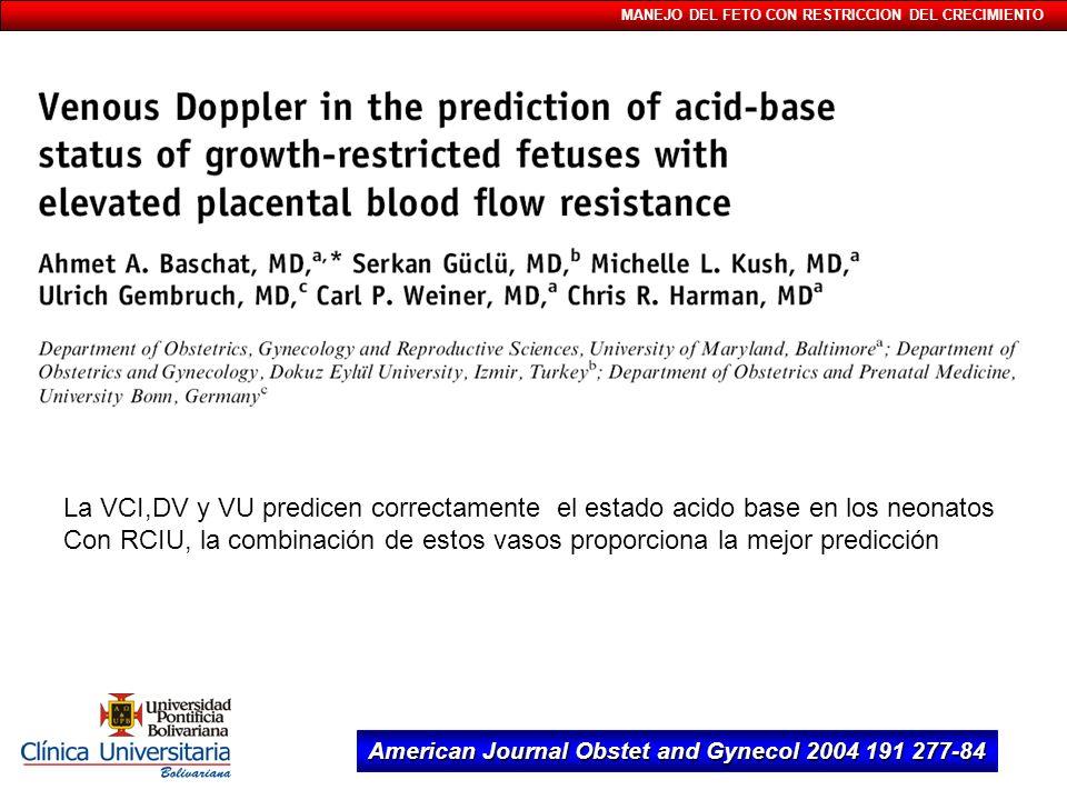 MANEJO DEL FETO CON RESTRICCION DEL CRECIMIENTO American Journal Obstet and Gynecol 2004 191 277-84 La VCI,DV y VU predicen correctamente el estado ac
