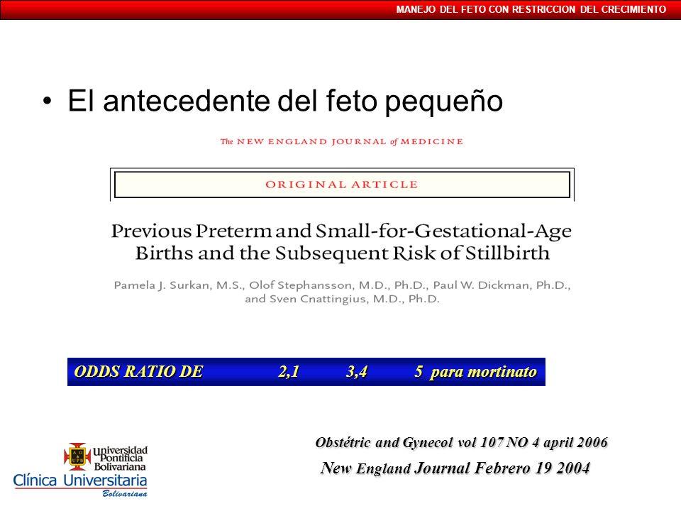 MANEJO DEL FETO CON RESTRICCION DEL CRECIMIENTO El antecedente del feto pequeño ODDS RATIO DE 2,13,45 para mortinato New England Journal Febrero 19 20