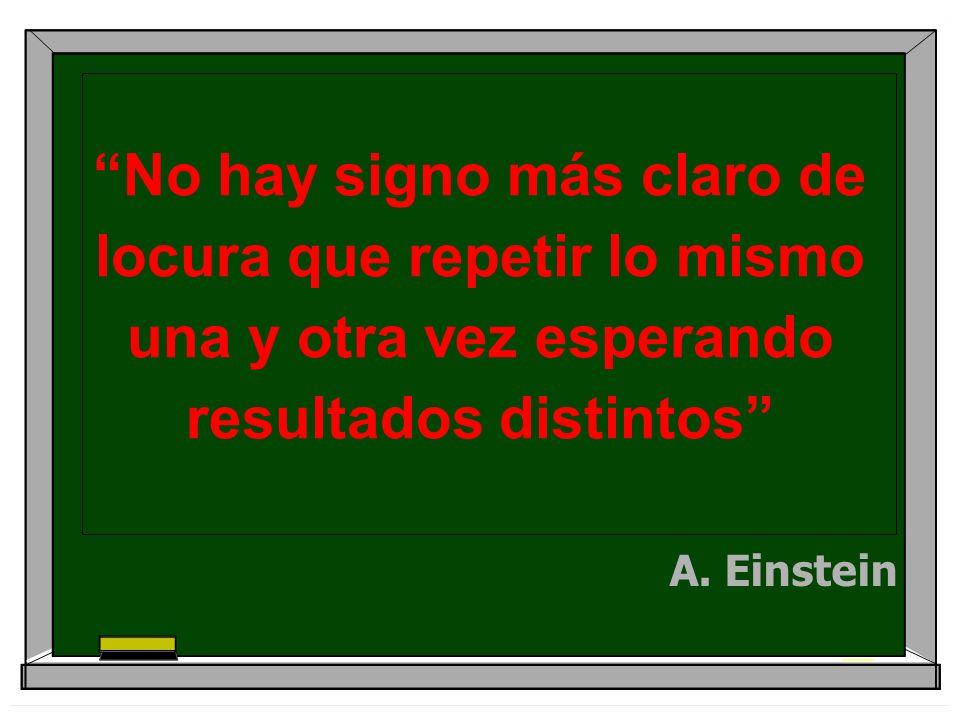 No hay signo más claro de locura que repetir lo mismo una y otra vez esperando resultados distintos A. Einstein
