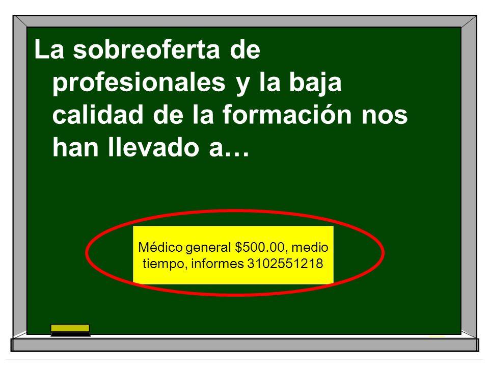 Médico general $500.00, medio tiempo, informes 3102551218 La sobreoferta de profesionales y la baja calidad de la formación nos han llevado a…