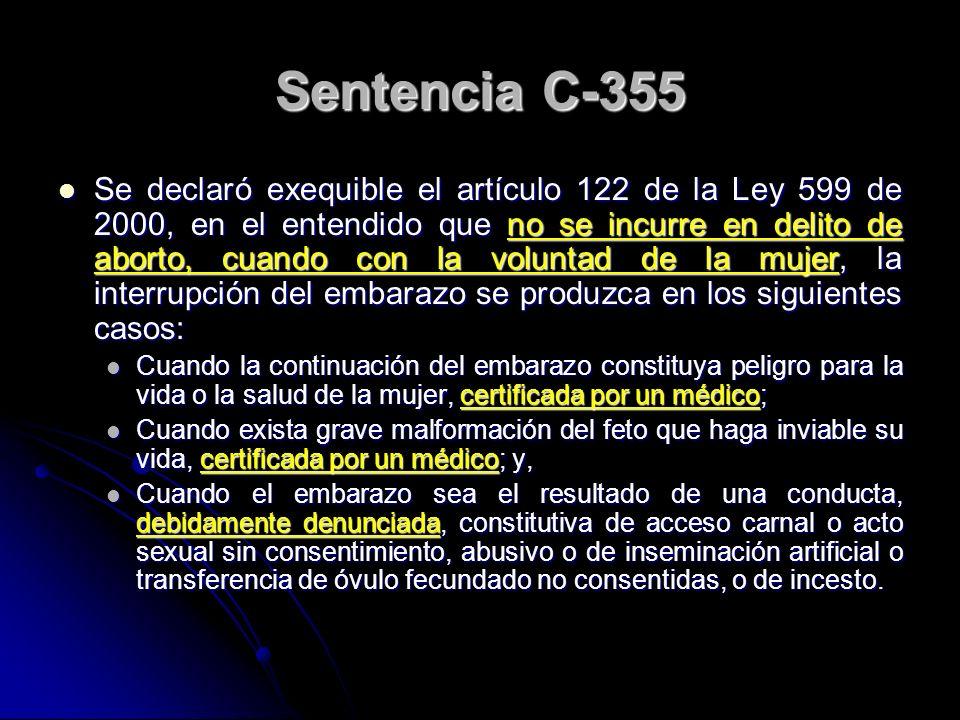 Sentencia C-355 Se declaró exequible el artículo 122 de la Ley 599 de 2000, en el entendido que no se incurre en delito de aborto, cuando con la volun