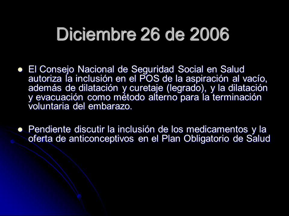 Diciembre 26 de 2006 El Consejo Nacional de Seguridad Social en Salud autoriza la inclusión en el POS de la aspiración al vacío, además de dilatación