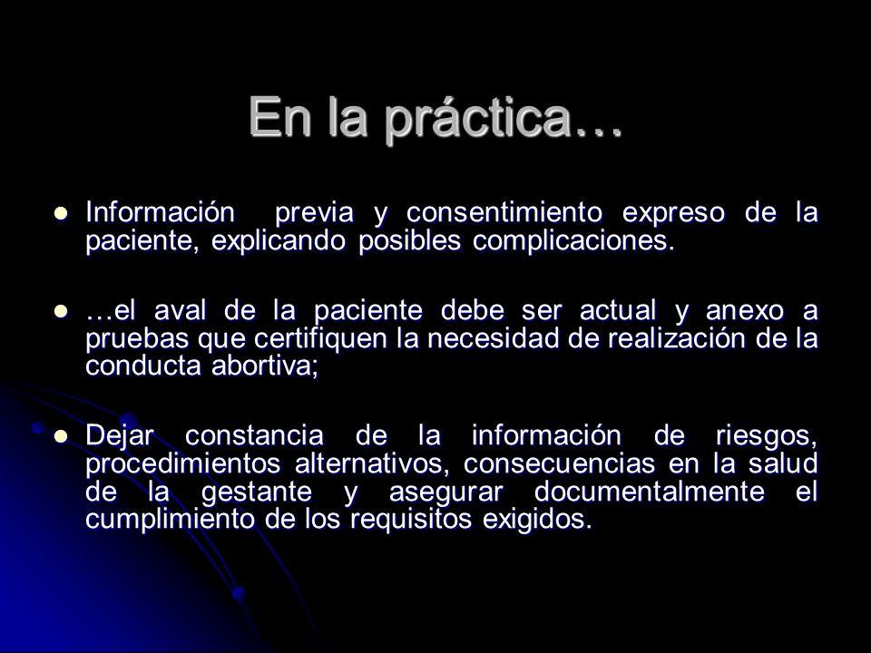 En la práctica… Información previa y consentimiento expreso de la paciente, explicando posibles complicaciones. Información previa y consentimiento ex