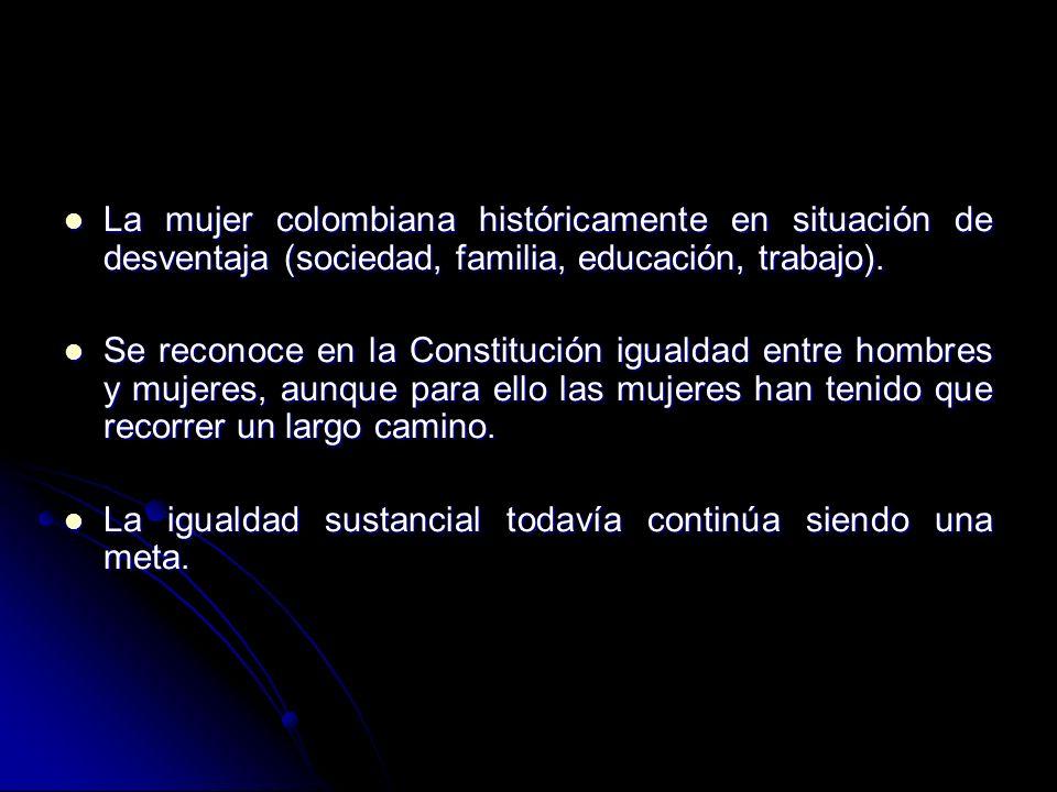 La mujer colombiana históricamente en situación de desventaja (sociedad, familia, educación, trabajo). La mujer colombiana históricamente en situación