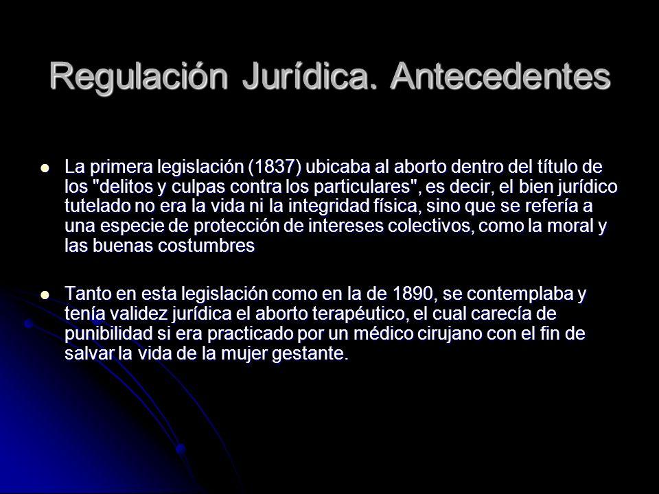 Regulación Jurídica. Antecedentes La primera legislación (1837) ubicaba al aborto dentro del título de los