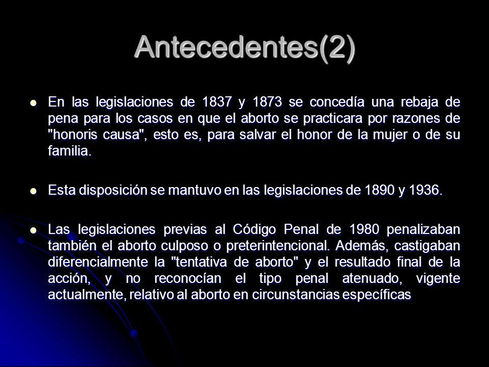 En las legislaciones de 1837 y 1873 se concedía una rebaja de pena para los casos en que el aborto se practicara por razones de