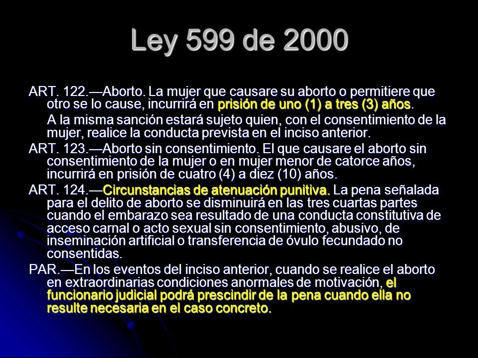 Ley 599 de 2000 ART. 122.Aborto. La mujer que causare su aborto o permitiere que otro se lo cause, incurrirá en prisión de uno (1) a tres (3) años. A