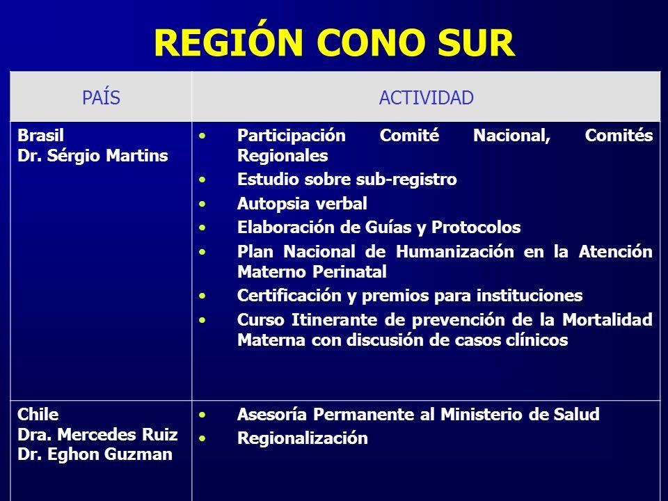 REGIÓN CONO SUR PAÍSACTIVIDAD Brasil Dr. Sérgio Martins Participación Comité Nacional, Comités Regionales Estudio sobre sub-registro Autopsia verbal E
