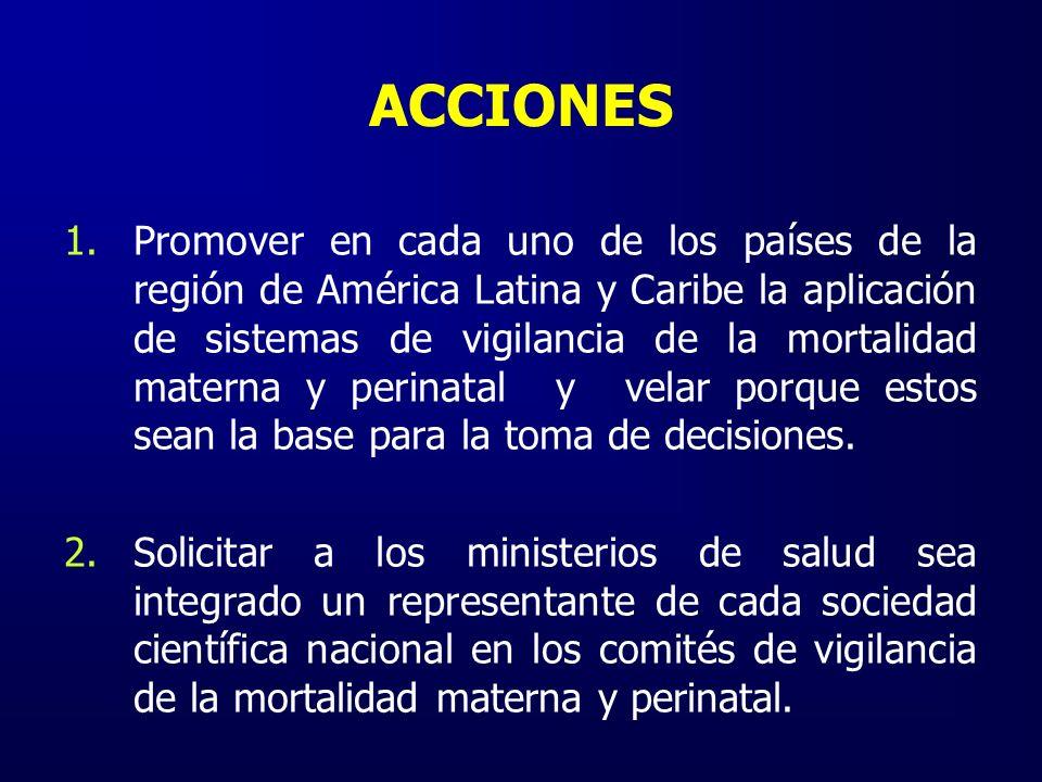 ACCIONES 1.Promover en cada uno de los países de la región de América Latina y Caribe la aplicación de sistemas de vigilancia de la mortalidad materna