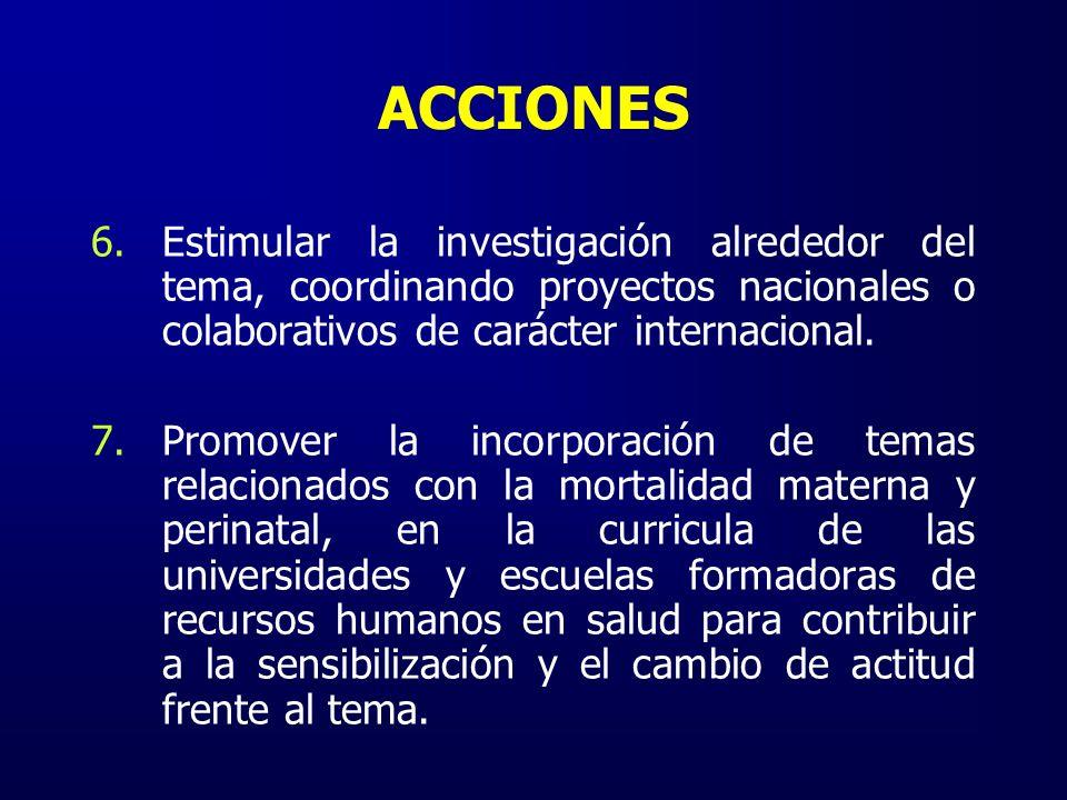 ACCIONES 6.Estimular la investigación alrededor del tema, coordinando proyectos nacionales o colaborativos de carácter internacional.