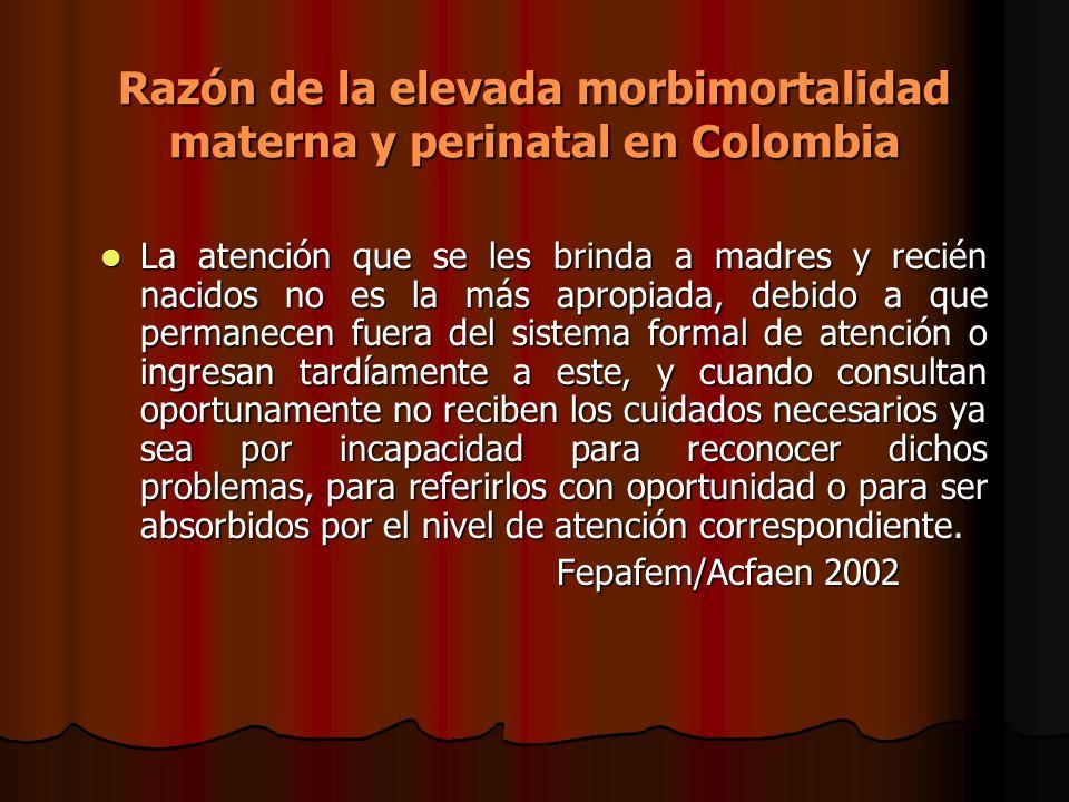 Razón de la elevada morbimortalidad materna y perinatal en Colombia La atención que se les brinda a madres y recién nacidos no es la más apropiada, de
