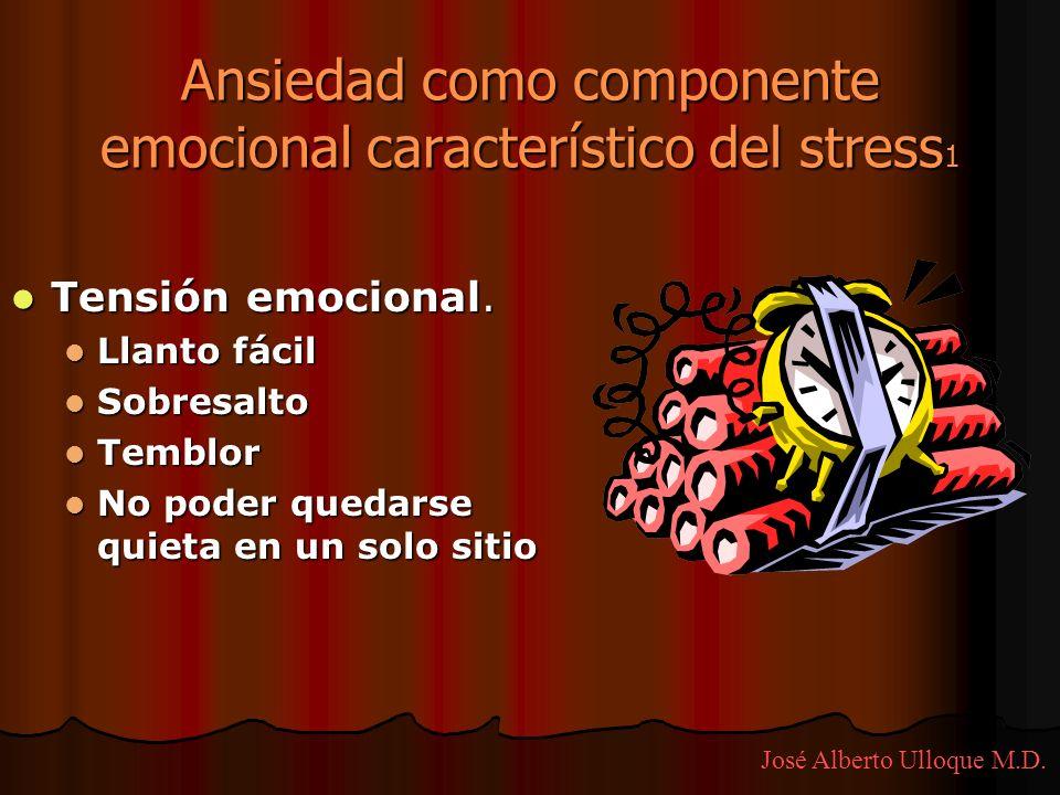 Ansiedad como componente emocional característico del stress 1 Tensión emocional. Tensión emocional. Llanto fácil Llanto fácil Sobresalto Sobresalto T