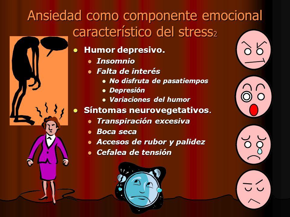Ansiedad como componente emocional característico del stress 2 Humor depresivo. Humor depresivo. Insomnio Falta de interés No disfruta de pasatiempos