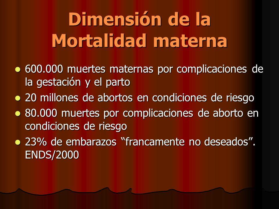 Dimensión de la Mortalidad materna 600.000 muertes maternas por complicaciones de la gestación y el parto 600.000 muertes maternas por complicaciones