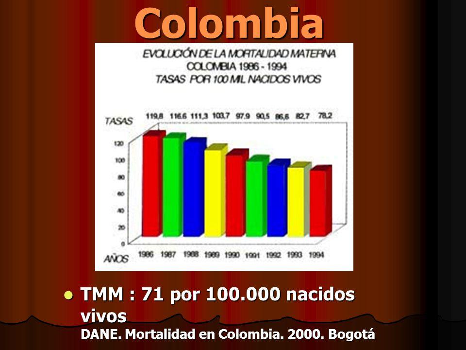 Colombia TMM : 71 por 100.000 nacidos vivos DANE. Mortalidad en Colombia. 2000. Bogotá TMM : 71 por 100.000 nacidos vivos DANE. Mortalidad en Colombia