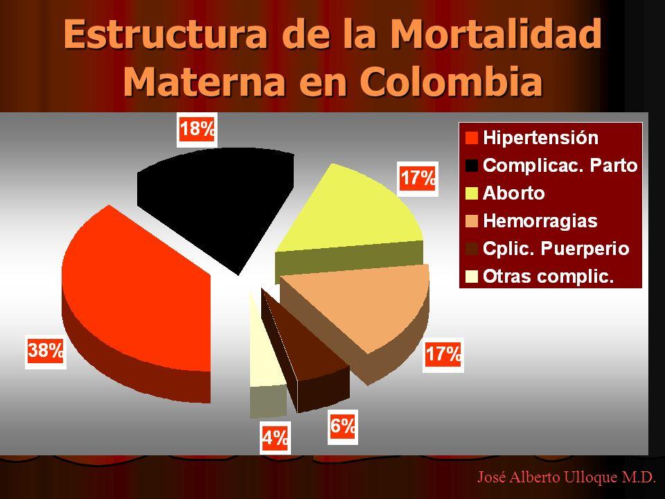 Estructura de la Mortalidad Materna en Colombia José Alberto Ulloque M.D.