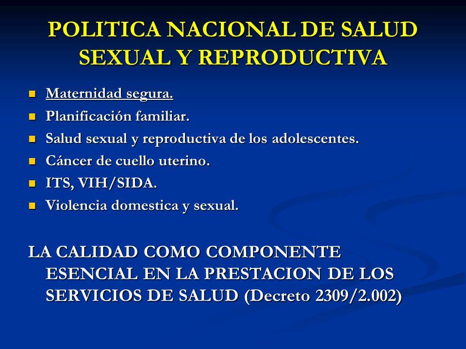 POLITICA NACIONAL DE SALUD SEXUAL Y REPRODUCTIVA Maternidad segura. Maternidad segura. Planificación familiar. Planificación familiar. Salud sexual y