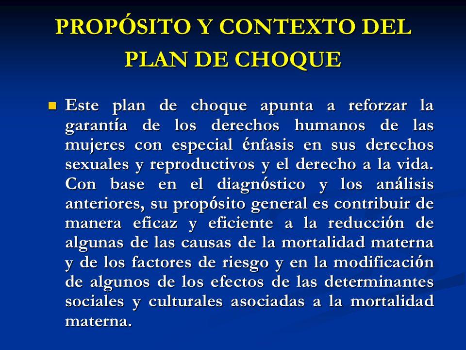 PROP Ó SITO Y CONTEXTO DEL PLAN DE CHOQUE Este plan de choque apunta a reforzar la garant í a de los derechos humanos de las mujeres con especial é nf