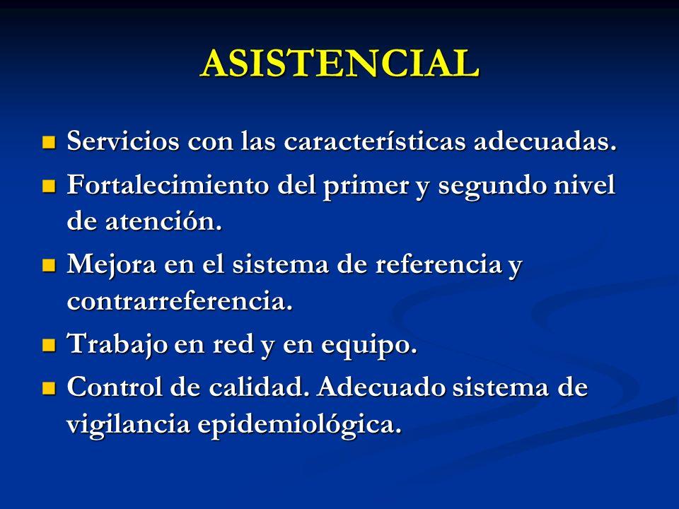 ASISTENCIAL Servicios con las características adecuadas. Servicios con las características adecuadas. Fortalecimiento del primer y segundo nivel de at