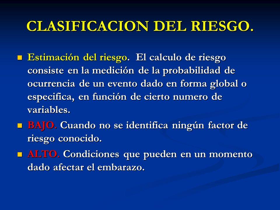 CLASIFICACION DEL RIESGO. Estimación del riesgo. El calculo de riesgo consiste en la medición de la probabilidad de ocurrencia de un evento dado en fo